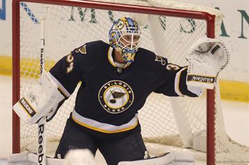 St. Louis Blues goaltender Jake Allen makes a glove save on a Anaheim Ducks shot in the first period at the Scottrade Center in St. Louis on October 30, 2014. UPI/Bill Greenblatt By BILL GREENBLATT
