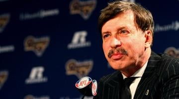 EARTH CITY, MO - JANUARY 17: St. Louis Rams owner Stan Kroenke addresses the media during a press conference at the Russell Training Center on January 17, 2012 in Earth City, Missouri. (Photo by Dilip Vishwanat/Getty Images) By Dilip Vishwanat/Stringer