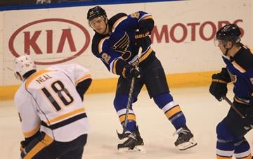 St. Louis Blues Kevin Shattenkirk passes the puck in the third period against the Nashville Predators at the Scottrade Center in St. Louis on November 8, 2014. Nashville won the game 2-1. UPI/Bil Greenblatt By BILL GREENBLATT