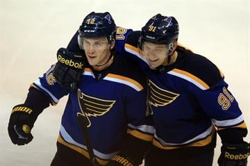 St. Louis Blues Vladimir Tarasenko (R) of Russia congratulates Jori Lehtera of Finland after scoring a goal in the first period against the Nashville Predators at the Scottrade Center in St. Louis on November 8, 2014. UPI/Bil Greenblatt By BILL GREENBLATT