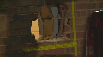 Police say the suspect started hitting the brick wall of the St. Louis Community Credit Union, in the 4400 block of Chippewa, with a sledgehammer around 2:45 a.m. By Stephanie Baumer