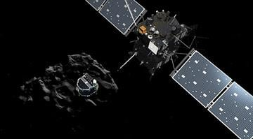 Artist impression showing Philae separating from Rosetta and descending to the surface of comet 67P/Churyumov-Gerasimenko. By Stephanie Baumer