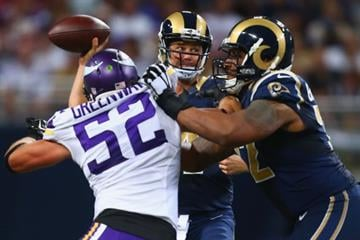 ST. LOUIS, MO - SEPTEMBER 7: Shaun Hill #14 of the St. Louis Rams looks to pass against the Minnesota Vikings at the Edward Jones Dome on September 7, 2014 in St. Louis, Missouri.  (Photo by Dilip Vishwanat/Getty Images) By Dilip Vishwanat