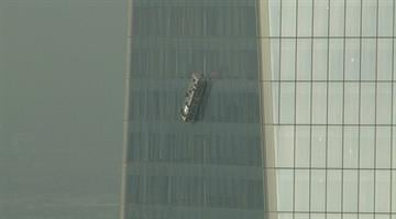 Two workers became trapped on window washing scafolding outside the 69th floor of One World Trade Center on Nov. 12, 2014. By Stephanie Baumer