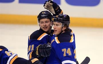 St. Louis Blues Vladimir Tarasenko of Russia (L) congratulates T.J. Oshie on his first goal of the season in the first period aginst the Nashville Predators at the Scottrade Center in St. Louis on November 13, 2014. UPI/Bill Greenblatt By BILL GREENBLATT