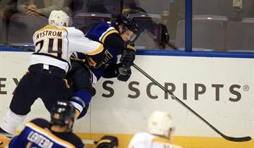 Nashville Predators Eric Nystrom tries to knock St. Louis Blues Vladimir Tarasenko off of the puck in the first period at the Scottrade Center in St. Louis on November 13, 2014. UPI/Bill Greenblatt By BILL GREENBLATT
