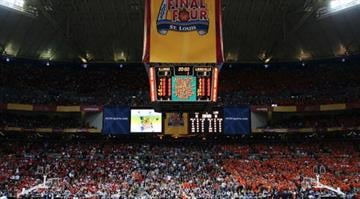 ST. LOUIS - APRIL 2:  The Louisville Cardinals tip-off against the Illinois Fighting Illini during the NCAA Men's Final Four at the Edward Jones Dome on April 2, 2005 in St. Louis, Missouri.  (Photo by Bob Covington/Getty Images) By Getty Images