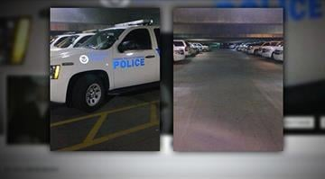 Mark Paffrath posted pictures like these showing Department of Homeland Security vehicles parked at a hotel where he worked. A few days after the posting, Paffrath says he was fired. By Stephanie Baumer