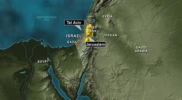 A map of Israel, calling out Jerusalem and Telaviv, highlighting the Gaza Strip and the West Bank By Stephanie Baumer