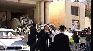 Two knife- and ax-wielding Palestinian men broke into a Jerusalem synagogue Tuesday morning, Nov. 18, 2014, and killed four Israeli worshipers, Israeli police said. By Stephanie Baumer