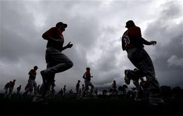 St. Louis Cardinals players warm up during the team's first full squad workout at spring training baseball, Friday, Feb. 15, 2013, in Jupiter, Fla. (AP Photo/Julio Cortez) By Julio Cortez