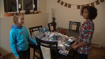 Rylee McCune and Infinity White saved up their allowances to buy supplies for the homeless. By Daniel Fredman