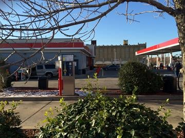 A car crashed into a Phillips 66 station in North City Wednesday morning rupturing a gas line. By Stephanie Baumer