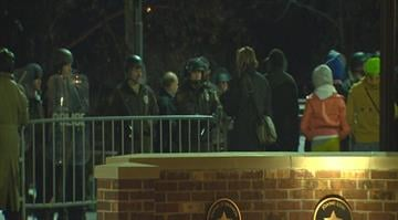 At least six people were arrested while protesting outside of the Ferguson Police Station Wednesday night. By Stephanie Baumer