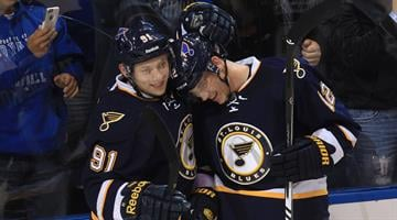 St. Louis Blues Vladimir Tarasenko of Russia (L) congratulates teammate Jori Lehtera of Finland for his goal in the first period against the Buffalo Sabres at the Scottrade Center in St. Louis on November 11, 2014. UPI/Bill Greenblatt By BILL GREENBLATT