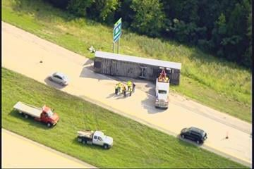 One southbound lane on Interstate 55 is shutdown between Highway Z and M due to an overturned tractor trailer. This is in Perry County. Monday, July 26th all southbound lanes were closed. By Lakisha Jackson