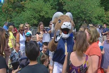 Rampage, the St.Louis Rams' new mascot, meets fans during his debut at the St. Louis Zoo on Monday, July 26, 2010.