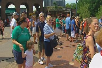 Fans wait for the debut of the St. Louis Rams' new mascot at the St. Louis Zoo on Monday, July 26, 2010.