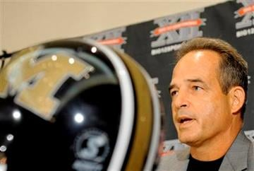Missouri coach Gary Pinkel answers reporters questions during a news conference at the Big 12 Football Media Day Tuesday, July 27, 2010 in Irving, Texas. (AP Photo/Cody Duty) By Cody Duty