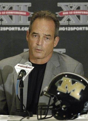 Missouri coach Gary Pinkel answers reporters questions during a news conference at the Big 12 Football Media Day Tuesday, July 27, 2010,  in Irving, Texas. (AP Photo/Cody Duty) By Cody Duty