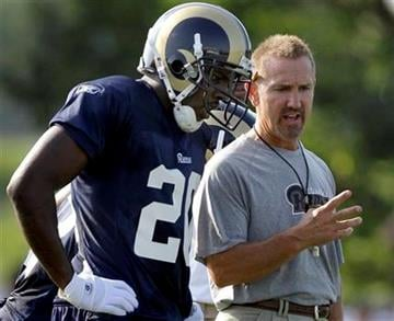 St. Louis Rams head coach Steve Spagnuolo, right, talks with safety Darian Stewart during NFL football training camp at the team's training facility Thursday, July 29, 2010, in St. Louis. (AP Photo/Jeff Roberson) By Jeff Roberson
