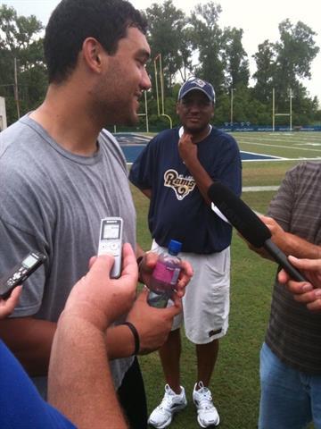 Players talk to the media. By Lakisha Jackson