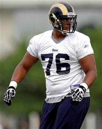 St. Louis Rams second-round draft pick offensive tackle Rodger Saffold takes part in drills during NFL football training camp at the team's training facility Friday, July 30, 2010, in St. Louis. (AP Photo/Jeff Roberson) By Jeff Roberson