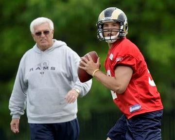 St. Louis Rams quarterback Sam Bradford, right, drops back to pass as quarterbacks coach Richard Curl looks on during rookie football mini-camp Friday, April 30, 2010, in St. Louis. (AP Photo/Jeff Roberson) By Jeff Roberson