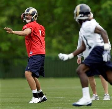 St. Louis Rams top-draft pick quarterback Sam Bradford, left, throws a pass to fourth-round pick, wide receiver Mardy Gilyard, right, during rookie football mini-camp Friday, April 30, 2010, in St. Louis. (AP Photo/Jeff Roberson) By Jeff Roberson