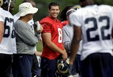 St. Louis Rams quarterback Sam Bradford (8) smiles as he stands on the sidelines during NFL football training camp at the team's training facility Saturday, July 31, 2010, in St. Louis. (AP Photo/Jeff Roberson) By Jeff Roberson