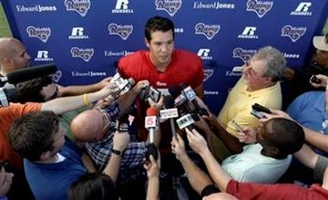 St. Louis Rams quarterback Sam Bradford speaks to the media after practice at NFL football training camp at the Rams' training facility, Saturday, July 31, 2010, in St. Louis. (AP Photo/Jeff Roberson) By Jeff Roberson