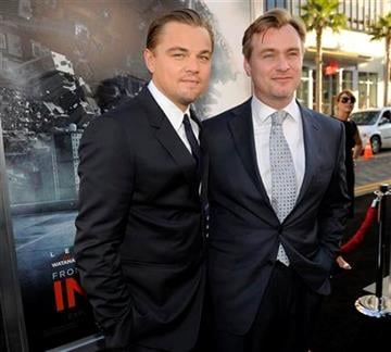 "Leonardo DiCaprio, left, star of the film ""Inception,"" poses with the film's director Christopher Nolan at the premiere of the film in Los Angeles, Tuesday, July 13, 2010. (AP Photo/Chris Pizzello) By Chris Pizzello"