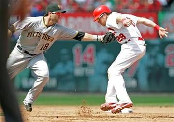 St. Louis Cardinals' Colby Rasmus (28) is tagged out by Pittsburgh Pirates second baseman Neil Walker (18) while trying to steal second in the sixth inning of a baseball game on Sunday, Aug. 1, 2010, in St. Louis.(AP Photo/Tom Gannam) By Tom Gannam
