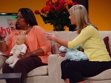 Host Carol Daniel and Awake Anchor Virginia Kerr talk babies with expert Nolene Duclos. By KMOV Web Producer