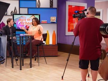 Guest Russell Hyken and Host Carol Daniel chat during the show. By KMOV Web Producer