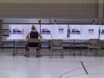 A voter sits at a polling station on Hampton and Pernod on Tuesday, Aug. 3, 2010. By KMOV Web Producer