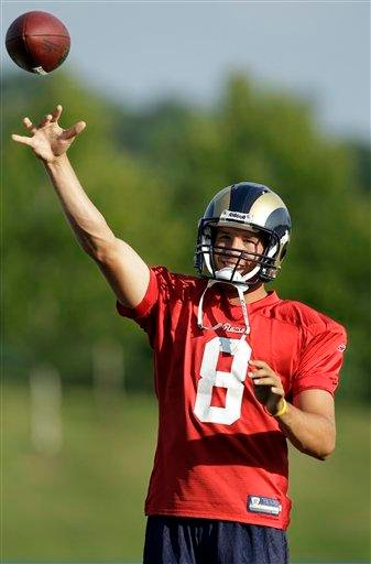 St. Louis Rams quarterback Sam Bradford throws during NFL football training camp Sunday, Aug. 1, 2010, in St. Louis. (AP Photo/Jeff Roberson) By Jeff Roberson