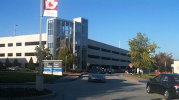 St. Johns Medical Mercy Center parking garage following a stabbing on August 3, 2010.