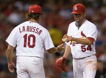 St. Louis Cardinals starting pitcher Jaime Garcia (54) is taken out of the game by manager Tony La Russa during the sixth inning of a baseball game against the Houston Astros on Tuesday, Aug. 3, 2010, in St. Louis. (AP Photo/Jeff Curry) By Jeff Curry