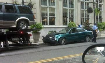 Two vehicle accident on Washington at 9th Street in downtown St. Louis on Thursday, August 5, 2010. By Bryce Moore