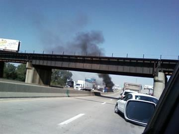 News 4 viewer Laura Dima sent in this photo of smoke pillowing out from a tractor trailer on the Poplar Street Bridge Friday. By KMOV Web Producer