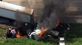 Several cars caught fire in a multi-vehicle wreck on Interstate 64 near New Baden, Illinois. By Lakisha Jackson
