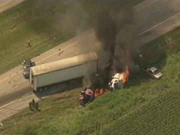 Multi-vehicle crash and fire on Interstate 64 near New Baden, Illinois. By Lakisha Jackson