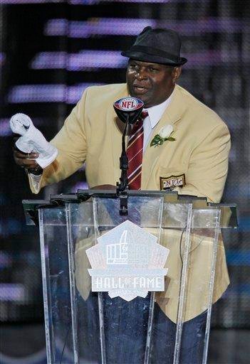 Former New Orleans Saints player Rickey Jackson speaks during his enshrinement in the Pro Football Hall of Fame in Canton, Ohio, Saturday, Aug. 7, 2010. (AP Photo/Ron Schwane) By Ron Schwane
