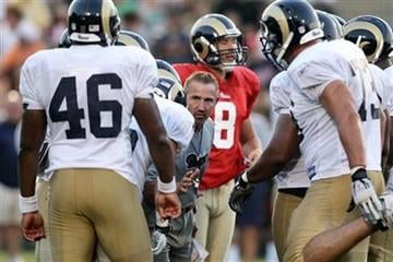 St. Louis Rams coach Steve Spagnuelo talks with players during an NFL training camp scrimmage on Saturday, Aug. 7, 2010, in St. Charles, Mo. (AP Photo/St. Louis Post-Dispatch, Erik M. Lunsford) By Erik M. Lunsford