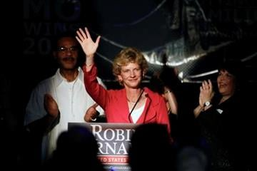 Democratic Secretary of State Robin Carnahan waves to supporters after addressing the crowd at a watch party Tuesday, Aug. 3, 2010, in Kansas City, Mo. Carnahan won the Democratic nomination for the U.S. Senate. (AP Photo/Ed Zurga) By ED ZURGA