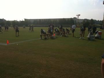 Rams defensive backs doing drills By Lakisha Jackson