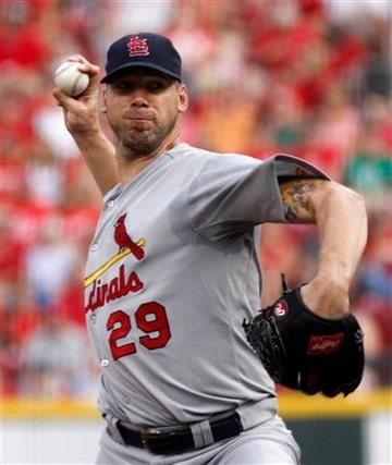 St.Louis Cardinals pitcher Chris Carpenter throws against the Cincinnati Reds in the second inning of a baseball game Monday, August 9, 2010 in Cincinnati. (AP Photo/David Kohl) By David Kohl