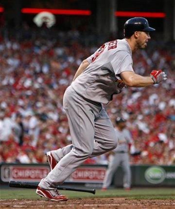 St. Louis Cardinals' Skip Schmaker runs after hitting an infield single off Cincinnati Reds pitcher Carlos Fisher in the fifth inning of a baseball game Monday, August 9, 2010 in Cincinnati. The Cardinals won 7-3. (AP Photo/David Kohl) By David Kohl