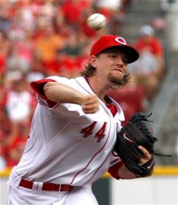 Cincinnati Reds pitcher Mike Leake throws against the St.Louis Cardinals in the first inning of a baseball game Monday, August 9, 2010 in Cincinnati. (AP Photo/David Kohl) By David Kohl